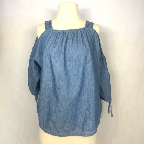 Madewell Tops - Madewell Indigo Cold Shoulder Top